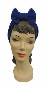 Royal Blue 1940s's style Bow Turban
